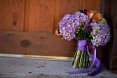 bouquet purple hydrangeas and babys breath??