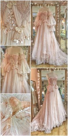 Lace Wedding Dresses Yoake blush tulle and lace wedding dress with ribbon details by Joanne Fleming Design - blush tulle and lace wedding dress with vintage ballerina pink ribbon details and gathered detachable sleeves for a romantic fairytale bride Vestidos Vintage, Vintage Dresses, Vintage Ball Gowns, Flower Girl Dresses, Prom Dresses, Wedding Dresses, Tulle Wedding, Blush Weddings, Vintage Weddings