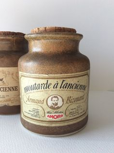 French 1930's stoneware mustard pot with by SouthofFranceFinds