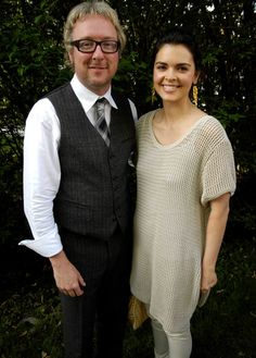 Katie Lee and hotelier, Andre Balazs at the Hampton magazine party memorial day outfit crochet tunic