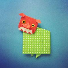 Dec.10. 2015 試作の獅子舞…もうちょっとかわいい感じがいいのかな…難しい! Shishimai: a ritual dance by a performer wearing a lion's mask #折り紙#origami #ハンドメイド