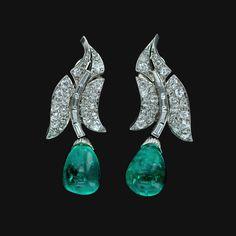 Original Art Deco Emerald and Diamond Drop Earrings...15 Carat Emerald + 2.5 Carat Diamond
