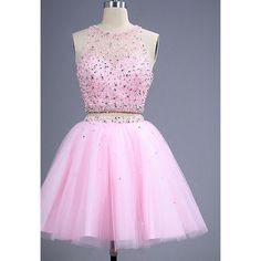 Cute Two Pieces Halter Pink Short Homecoming Dress with Beadings Open... (6,730 DOP) ❤ liked on Polyvore featuring dresses