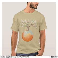 Shop Earth - Apple tree T-Shirt created by JLYCHRISTMAS. Growing Tree, Apple Tree, Earth, Mens Tops, T Shirt, Shopping, Design, Tee, Design Comics