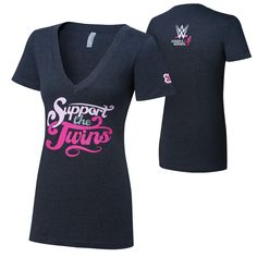 """The Bellas """"Support The Twins"""" Courage Conquer Cure Women's Charcoal V-Neck T-Shirt"""