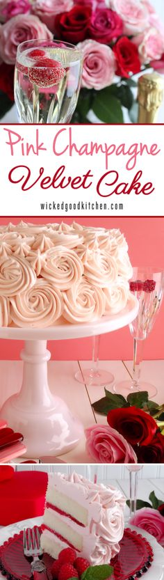 Pink Champagne Velvet Layer Cake by WickedGoodKitchen.com ~ Moist, tender white cake reminiscent of its buttermilk cake cousin, Red Velvet Cake, our Champagne Velvet Layer Cake is made with a champagne reduction and a hint of almond and vanilla. It is iced with Pink Champagne Buttercream and filled with Strawberry-Raspberry Filling for a truly romantic dessert experience. Perfect for Valentine's Day!   dessert recipe