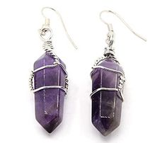 f6e53d12a Brass Wire Wrapped Bullet Gemstone Natural Amethyst Earrings, Platinum  Metal Color, 39~43x14mm