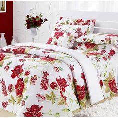 Flores é o que você gosta? Que tal esse jogo de cama Queen com flores em vermelho? A paixão fica por conta do casal ;)