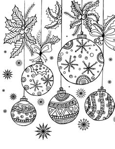 Detailed Coloring Pages, Free Adult Coloring Pages, Colouring Pages, Printable Coloring Pages, Christmas Balls, Christmas Colors, Diy Christmas Gifts, Christmas Art, Christmas Decorations