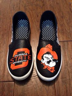 Custom Painted Shoes- Oklahoma State University on Etsy, $75.00