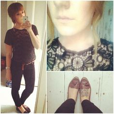 #whatiwore #dailyoutfit #outfitideas  #fashion Fashion ideas. Black lace. Brown leather brogues.