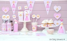 Printables for a princess party girl! Imprimibles para una fiesta infantil de princesa! http://www.undolcunivers.com/2014/02/kit-de-princesa-para-fiesta-infantil.html