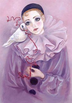 Giclee Print: Pierrot and Dove by Judy Mastrangelo : Le Clown, Clown Faces, Art Du Croquis, Pierrot Clown, Clown Paintings, Send In The Clowns, Ecole Art, Star Art, Figurative Art