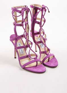 "Purple Suede Leather Lace Up Gladiator """"Manous"""" Sandals"