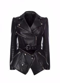 -- Alexander Mcqueen Zipped Biker Jacket -- only always Real Leather Belt, Vegan Leather Jacket, Faux Leather Jackets, Leather Belts, Black Leather, Alexander Mcqueen, Fashion Vestidos, Riders Jacket, Moto Jacket