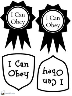 I Can Obey Badges Handout for Primary 2 Lesson 30