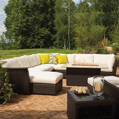 Lloyd Flanders Flair Woven Vinyl Patio Sectional Set with Fire Pit Table Hickory Furniture, Teak Furniture, Outdoor Seating, Outdoor Decor, Outdoor Fire, Outdoor Spaces, Outdoor Wicker Patio Furniture, Fire Pit Table, Modern Patio
