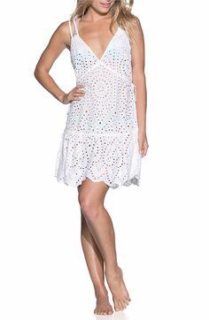Main Image - Maaji Dreamy Wonderland Cover-Up Dress Beachwear, Swimwear, Eyelet Lace, Scalloped Hem, Plunging Neckline, Nordstrom Dresses, Cover Up, My Style, Cotton