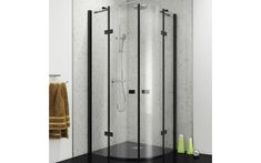 Black Frameless Quadrant Hinged Enclosure - Kaso 8 Star by Voda Design Thick) available to buy from We stock of Bathroom products available at great discount prices from our online store. Double Glass Doors, Clean Technology, British Standards, Safety Glass, Shower Enclosure, Modern Spaces, White Bathroom, Chrome Finish, Contemporary Design