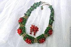 """Купить Колье """"Сладкая ягода"""" - зеленый, изумрудный, красный, колье ягоды, красная смородина"""