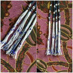 Tassels/TzitTzits with blue beads  100 % cotton #hebrewculture #hebrewwear
