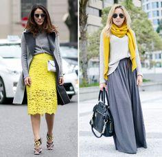 Combinação de cores: cinza e amarelo