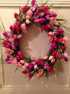 Blooming Tulip Wreath by DoorJewelryBoutique on Etsy