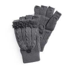 Men's MUK LUKS Fingerless Flip Mittens, Grey