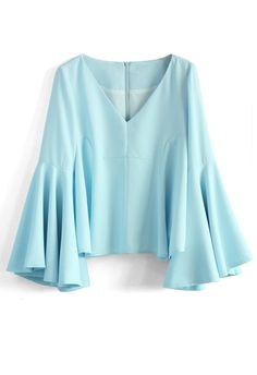 Serene Blue Top with Bell Sleeves - Tops - Retro, Indie and Unique Fashion Vintage Tops, Unique Fashion, Boho Fashion, Bohemian Tops, Bohemian Style, Bohemian Blouses, Bell Sleeves, Bell Sleeve Top, Flare Top