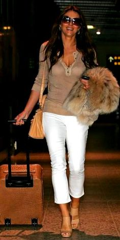 white and khaki w/fur vest...flight chic