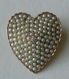 Victorian Pearl Diamond Heart 14k Brooch/Pendant