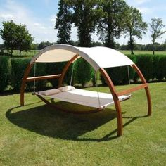 Shaded hammock safe enough to sleep on. I wonder if we could scoot the shade back for star gazing?