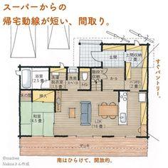 madree(マドリー)は、プロの建築家・デザイナーに、自宅にいながらスマホやパソコンから間取り図の作成を依頼できるサービスです。気に入った間取りができたら、住宅会社も紹介してくれます。今回は「家事を効率よく。キッチンと洗濯室が近い間取り。」をご紹介します。 Story House, House 2, One Story Homes, Japanese House, House Layouts, Floor Plans, House Design, Flooring, How To Plan