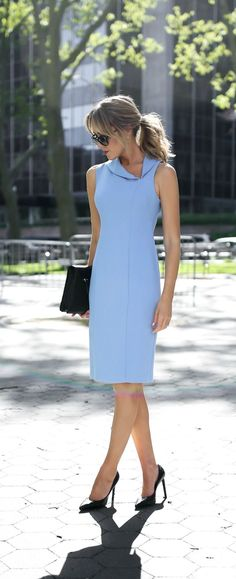 classic periwinkle blue knee length sheath dress with asymmetrical shawl collar neckline // summer business formal workwear, office style