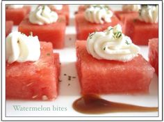 Watermelon and goat cheese bites - healthy appetizer
