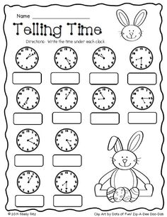 Easter Math--Telling time--FREE--Second grade Math--2.MD.7--tell and write time to the nearest five minutes  Check out 50+ free #math resources: https://www.teacherspayteachers.com/Store/Mathfilefoldergames/Price-Range/Free