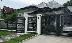 Minimalist facade with clean lines and dark gray, white, and green - All For Garden House Fence Design, Fence Gate Design, Modern Fence Design, Front Gate Design, Modern House Design, Style At Home, Modern Entrance, Modern Exterior, Bungalow Exterior