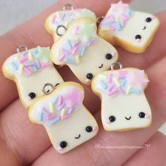 "CharmedandDangerous on Instagram: ""Fairy bread will be back in the shop on Saturday at 11am CST. 🧚♀️🍞 #fairybread #kawaiifood . . . . . . #polymerclaycharms #kawaiicharms…"""