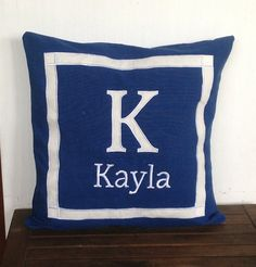 Check out Royal Blue Nursery pillows Name and Initial pillows monogrammed 18 x18 made to order on snazzyliving