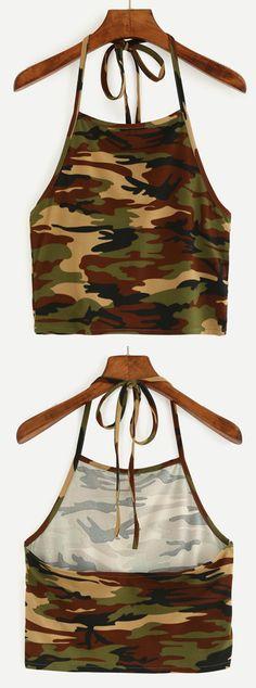 Halter Neck Camouflage Crop Cami Top - Olive Green