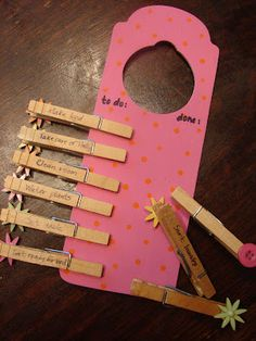 I love this!  Door Hanger Chore Charts via my blessed life.