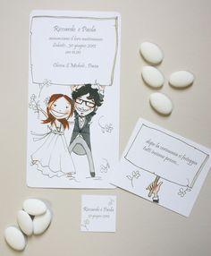 custom wedding invitation. partecipazione di matrimonio disegnata a mano