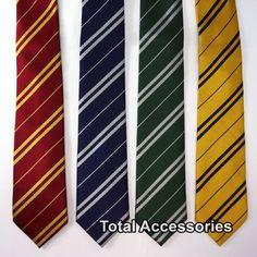 HARRY POTTER HOGWARTS HOUSE NECKTIE - Wizard School Pinstripe Costume Tie - NEW #Unbranded