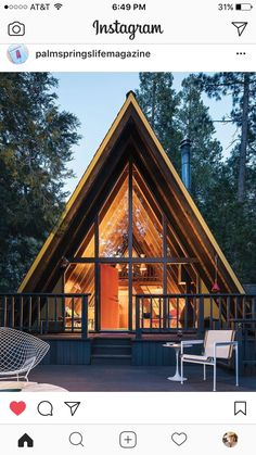 Contemporary A-frame log home chalet with huge overhang gabled roof overhanging huge deck. A Frame House Plans, A Frame Cabin, Cabana, Log Homes Exterior, Mansion Designs, Log Home Interiors, Log Cabin Homes, Cabins And Cottages, Cabins In The Woods