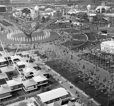 Flags representing foreign countries led to the fair's center point, the enormous 140-foot high, 700,000 pound Unisphere that remains a Queens icon to this day.