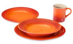 9 year anniversary present to myself. thank you honey!  Le Creuset Stoneware Dinnerware Set 16-piece Flame