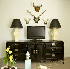 TV Wall - lamps, black media cabinet -The Green Room Interiors Chattanooga, TN