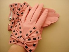 pink leather bow gloves by blackblues on Etsy