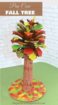 Pine cone fall tree - use recyclables and pine cones to make these colorful autumn trees. Kid's art and crafts