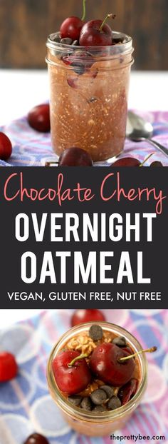 Overnight oats don't have to be boring! This is the easiest recipe - top these with chocolate chips and cherries, and you have a sweet and delicious gluten free breakfast. Low Carb Vegetarian Recipes, Allergy Free Recipes, Delicious Vegan Recipes, Whole Food Recipes, Yummy Food, Bread Recipes, Healthy Breakfast Options, Vegan Breakfast Recipes, Breakfast Ideas